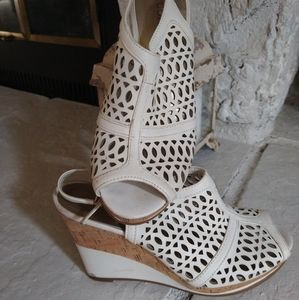 "Connie ""Nakita"" white wedge sandal"